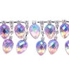 Rhinestone Trim Drops 5Yd Spool 35mm Light Rose Aurora Borealis/silver